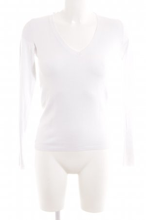 Zara V-Ausschnitt-Pullover weiß Casual-Look