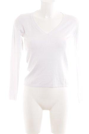 Zara Pull col en V blanc style décontracté