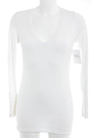 Zara Pull col en V blanc cassé style décontracté