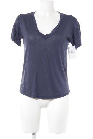 Zara T-shirt col en V bleu foncé style décontracté