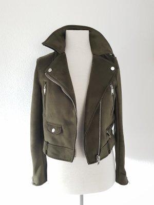Zara Velour Bikerjacke Khaki Gr.XS