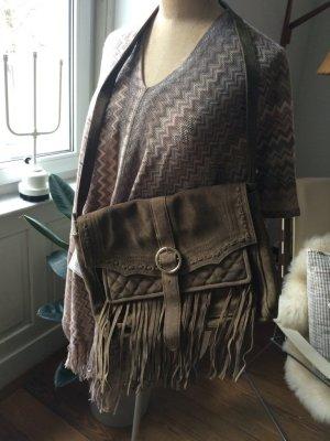 Zara Fringed Bag green grey-khaki leather