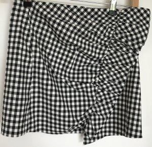 ZARA Vichykaros Miniskirt - Black/White - Ruffles - NEW