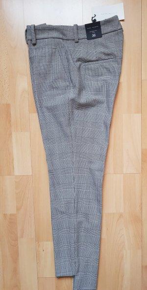 Zara Pantalón tobillero blanco-negro