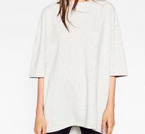 Zara Vokuhila Longshirt Oversize Grau Meliert Shirt Sweater Sweat Boxy Cosy S M