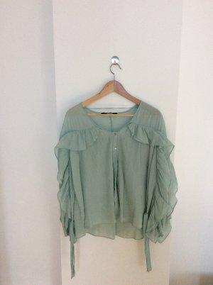 Zara Basic Ruche blouse grijs-groen