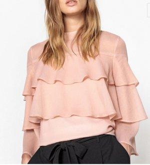 Zara Volant Bluse XS S 34 36 rosa Rüschen Peplum Shirt Top Oberteil Tunika Volantärmel Kleid Neu NP 40€
