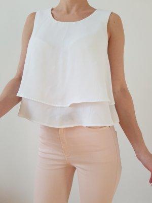 Zara Volant Bluse XXS XS S 32 34 weiß Oberteil Schößchen Shirt Tunika Kleid Top