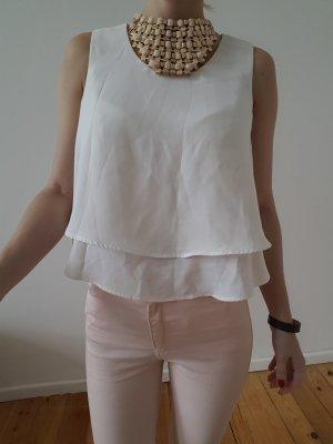 Zara Volant Bluse XXS XS S 32 34 weiß Oberteil Schößchen Shirt Tunika Top