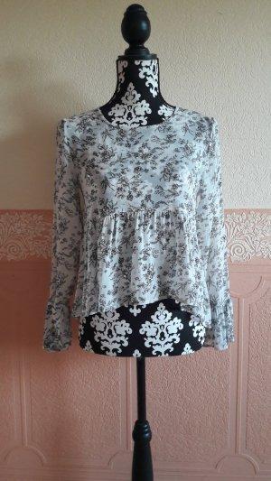 Zara Basic Flounce Top white-light grey
