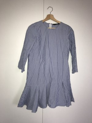 Zara Trafaluc Flounce Dress blue-white