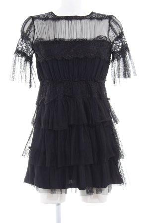 Zara Volantkleid schwarz-dunkelblau Elegant
