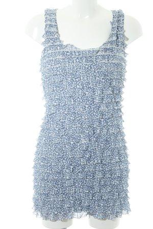 Zara Vestido estilo flounce blanco-azul acero estampado con puntos de colores