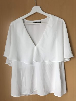 Zara Blouse à enfiler blanc-blanc cassé