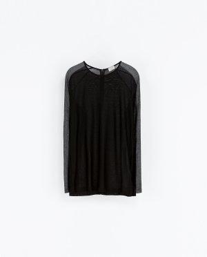 Zara W&B Shirt schwarz grau S 36
