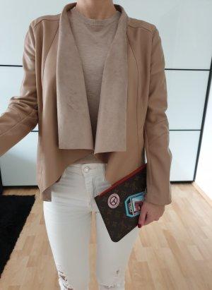 Zara Wasserfall Lederjacke XS S 32 34 camel beige Mantel Jacke PU Leder Cardigan Neu