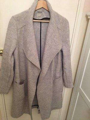Zara Wasserfall Mantel Wolle drapiert offen Blogger Winter grau