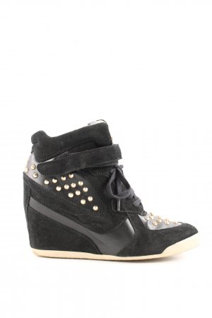 Zara Wedge Sneaker schwarz-creme Casual-Look