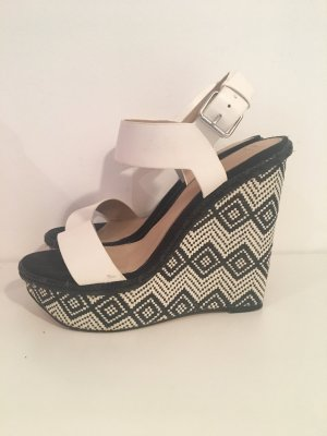Zara Wedge Sandals black-white