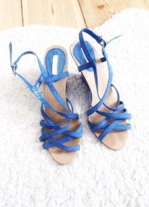 ZARA Wedges Keilabsatz High Heels Riemchen Sandaletten blau 37