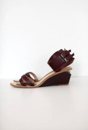 Zara Wedges Sandalen Burgundy Dunkelrot echtes Leder Gr. 38 wie neu!