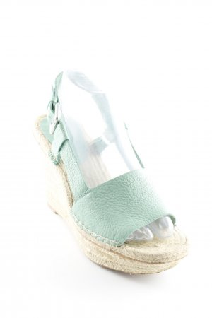 Zara Wedge Sandals cream-mint beach look