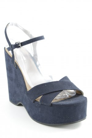 Zara Wedge Sandals dark blue casual look