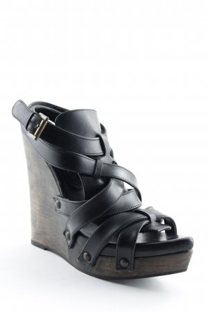 Zara Wedge Sandals black-dark brown wooden look