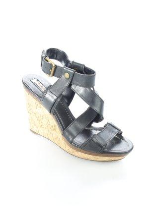 Zara Wedges Sandaletten schwarz Korkelemente