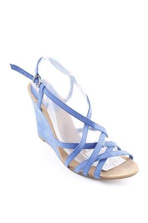 Zara Wedges Sandaletten stahlblau Party-Look