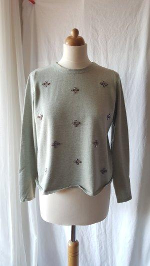 Zara Knit Jersey de cuello redondo verde grisáceo