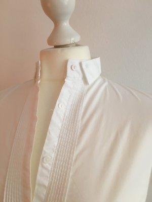 ZARA Weiße Bluse mit Stehkragen, Gr. S