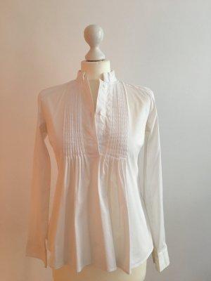 ZARA Weiße Bluse mit Stehkragen und halber Knopfleiste, Gr. S