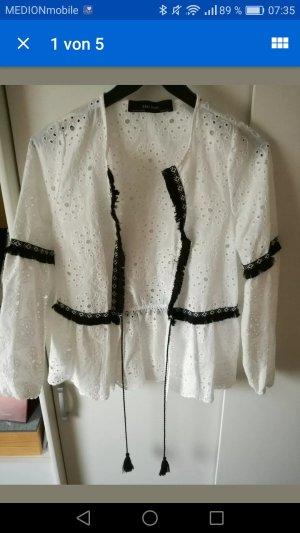 Zara weiße Jacke mit Lochstickerei Lochmuster schwarze Quasten Neu Größe 34 XS