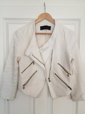 Zara weißer Blazer/ Bikerjacke mit goldenen Reißverschlüssen, Größe S