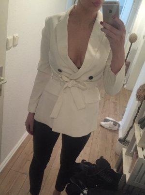 Zara Blazer long blanc-noir