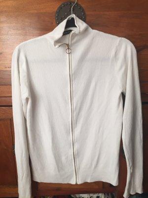 Zara weißer Viskose Cardigan mit Reißverschluss wie NEU klassische Impressionen