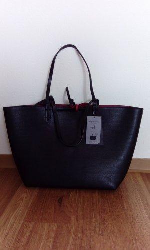 Zara Wende shopper Tasche Schwarz Rot