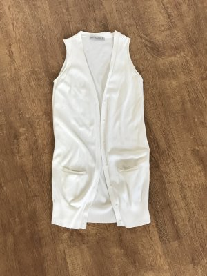 Zara Long Knitted Vest white