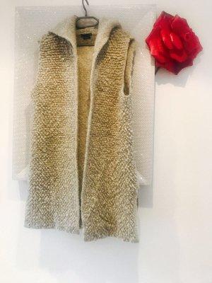 Zara Chaleco de punto beige-marrón grisáceo