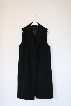 Zara Weste schwarz Wolle Vintage Look Gr. S Blogger Mantel Mantelweste