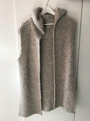 Zara Weste Yarn Italian grau beige nude kapuze