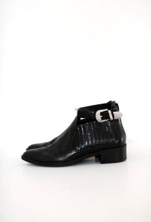 Zara Western Boots Ankle Booties Schlangenoptik Gr. 38 mit Schnalle