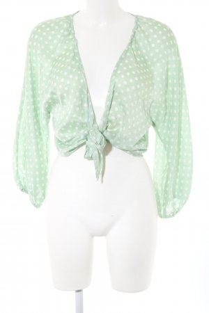 Zara Wraparound Blouse green-white spot pattern casual look