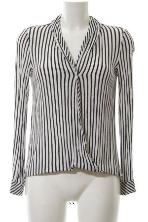 Zara Wikkelblouse wit-zwart gestreept patroon zakelijke stijl