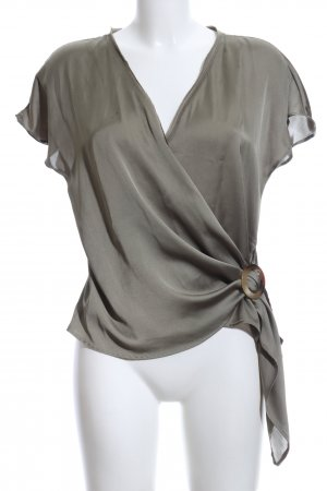 Zara Wraparound Blouse green grey casual look