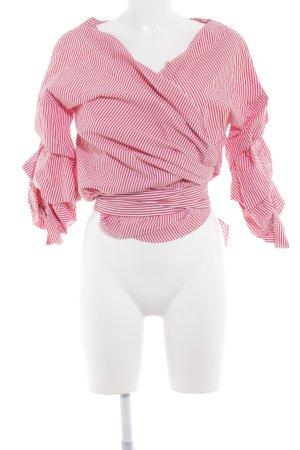 Zara Wickel-Bluse hellrot-weiß Streifenmuster Boho-Look