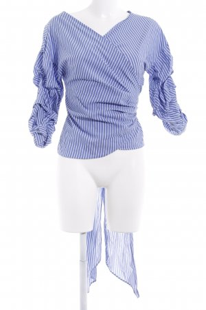 Zara Blusa cruzada azul acero-blanco puro estampado a rayas look casual