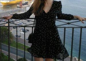Zara Vestido cruzado negro-blanco puro
