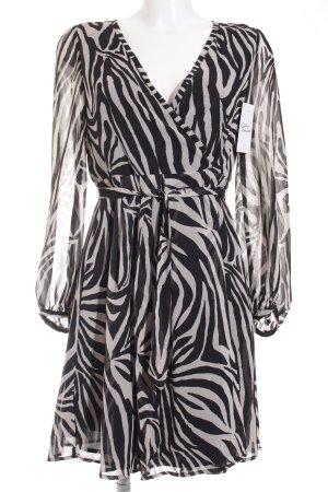 Zara Wickelkleid weiß-schwarz Animalmuster klassischer Stil